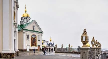 Pochaev, Ukraine 01.04.2020.  Holy Dormition Pochaev Lavra in Pochaiv, Ukraine