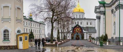 Pochaev, Ukraine 01.04.2020.  Holy Dormition Pochaev Lavra in Pochaiv, Ukraine, on a gloomy winter morning