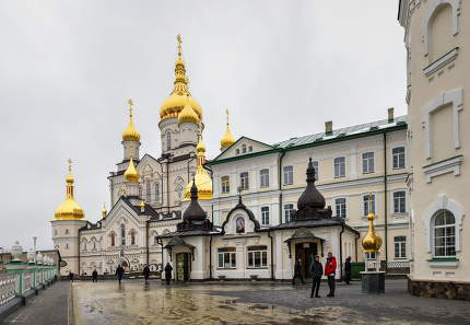 Pochaev, Ukraine 01.04.2020.  Holy Dormition Pochaev Lavra in Pochaiv, Ukraine, on a gloomy winter morning before Orthodox Christmas