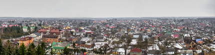 Pochaev, Ukraine 01.04.2020.  Panoramic top view of the Pochaev village from the terrace of Holy Dormition Lavra in Ukraine