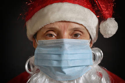Portrait Woman With Medical Mask Conceptual Santa Claus Portrait
