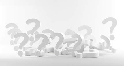 question marks light gray white 3d-illustration