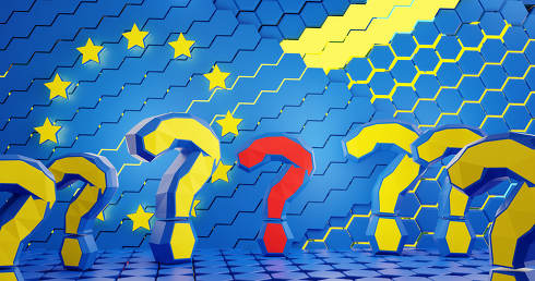 questions marks background design of Europe with hexagons design