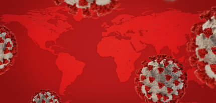 red world map and covid-19 virus cells 3d-illustration