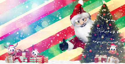 Santa Claus and festive Christmas gifts. presents 3d-illustratio