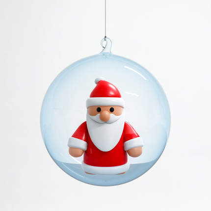 Santa Claus inside a Christmas ball, 3D illustration