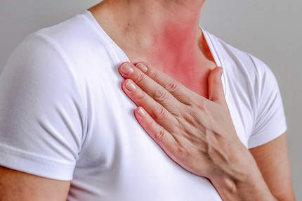 sore throat, shown red, keep handed, isolated on white background