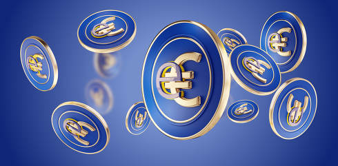 symbol of the digital currency eEuro symbolic Euro design 3d-ill