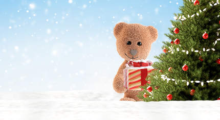 teddy bear with christmas gifts and tree background. white snow. christmas 3d-illustration