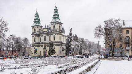 Ternopil, Ukraine 01.05.2020.  Church of the Immaculate Conception of the Blessed Virgin Mary in Ternopol, Ukraine, on a snowy winter morning