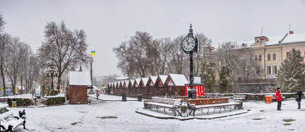 Ternopil, Ukraine 01.05.2020.  Taras Shevchenko Boulevard in Ternopol, Ukraine, on a snowy winter morning
