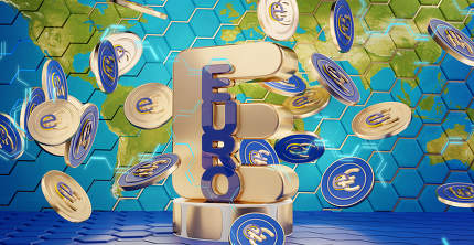 the digital euro, e-euro coins, with the world map as background, coins in the foreground 3d-illustration. elements of this image furnished by NASA