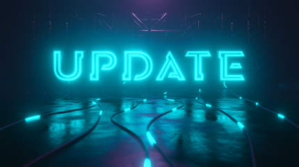 Update neon sign with glowing cable, 3D illustration