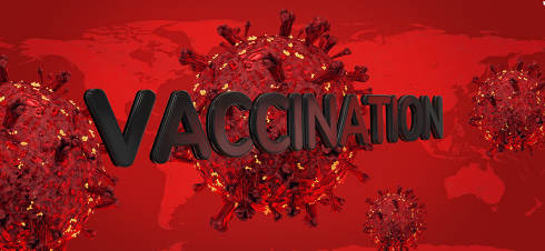 vaccination coronavirus covid-19 3d-illustration background. elements of this iamge furnished by NASA