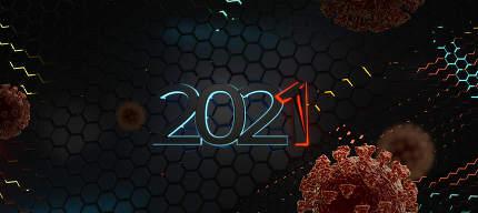 virus 2021 red warning concept. 3d-illustration hexagonal background