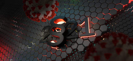 virus and paragraph and 2021 concept. red bright lights as warni