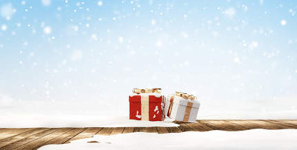 white christmas. christmas presents on wooden snow background 3d-illustration
