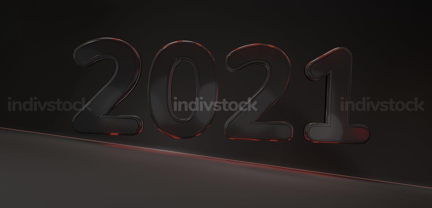 2021 bold dark red lights symbol background 3d-illustration