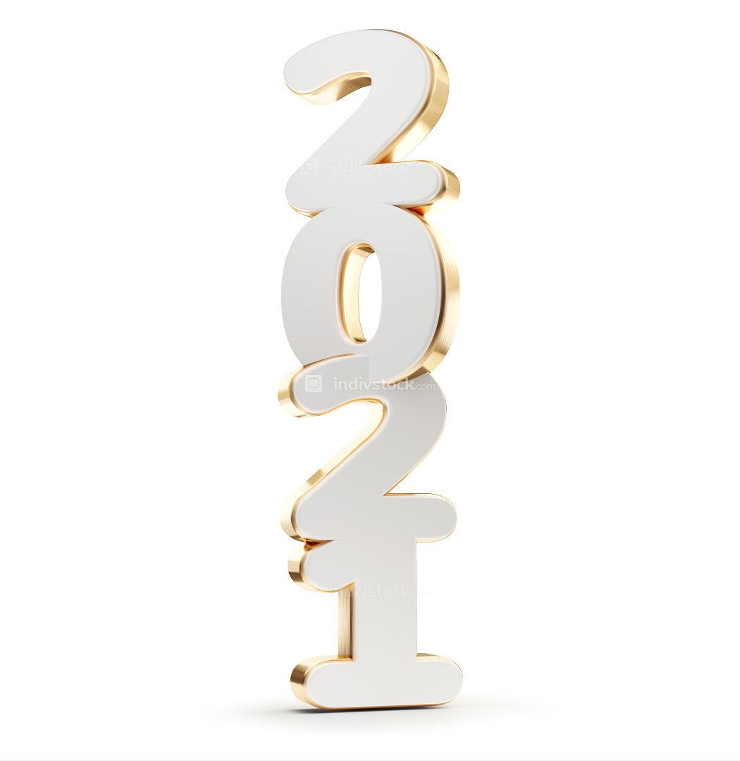 2021 bold symbol golden white 3d-illustration