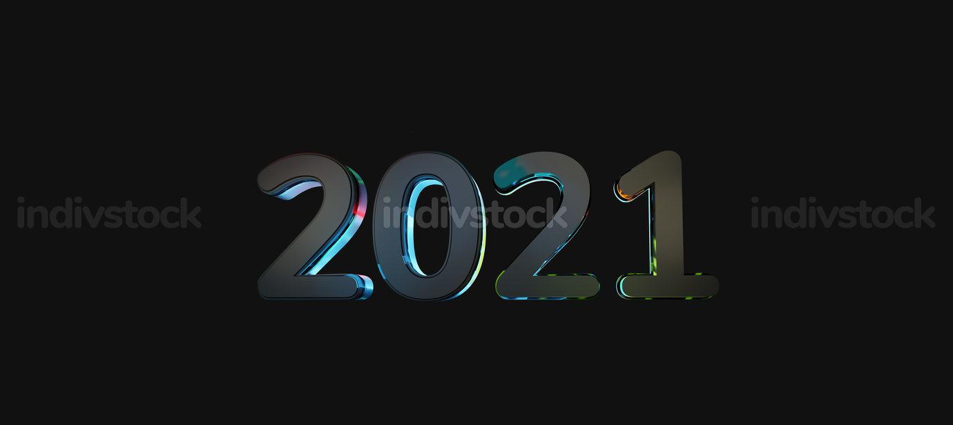 2021 dark text vibrant lights 3d-illustration