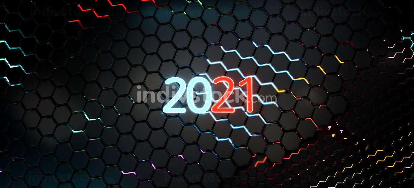 2021 neon bright vibrant letters on dark hexagons abstract backg