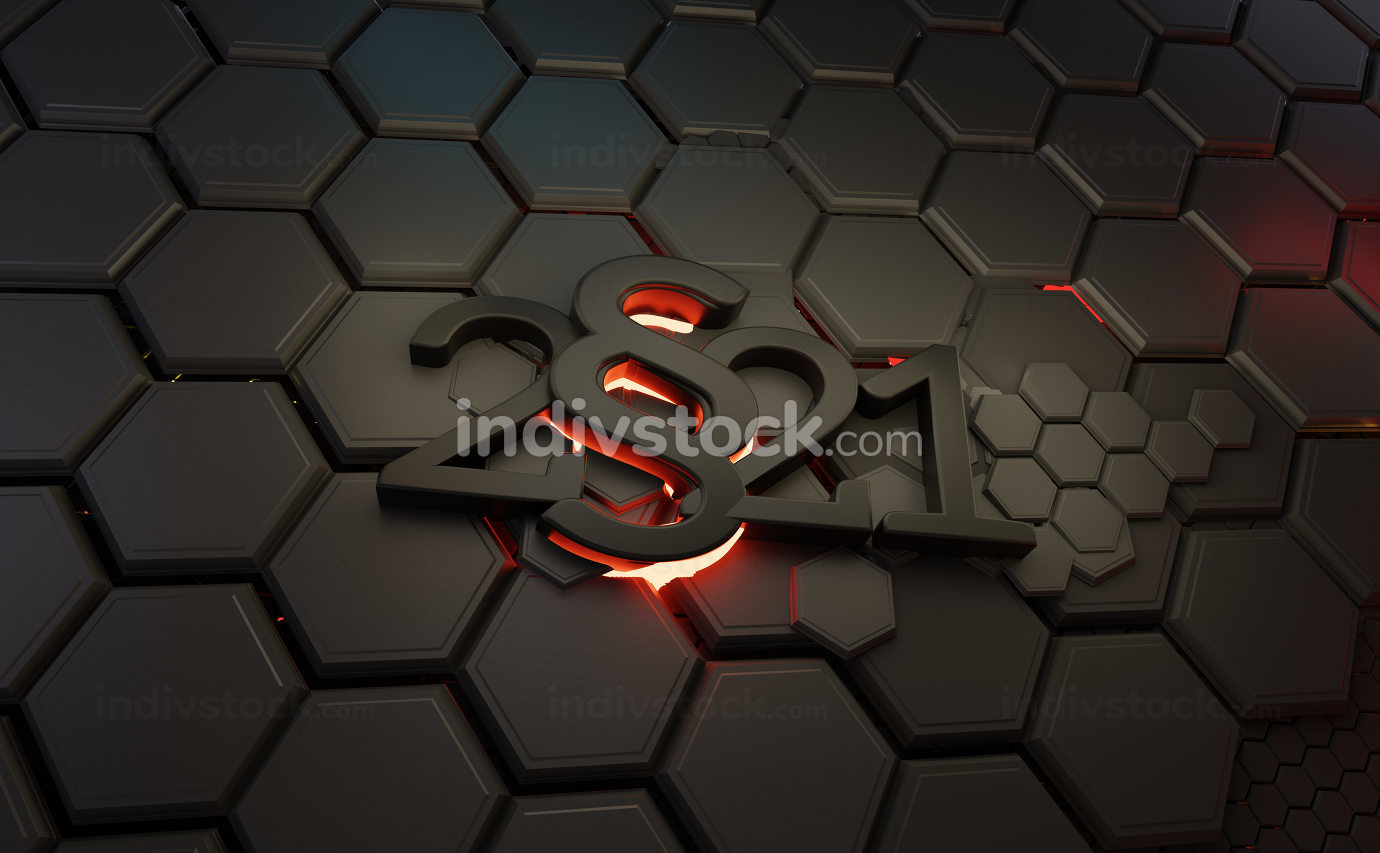 2021 paragraph symbol with red vibrant light, background 3d-illu