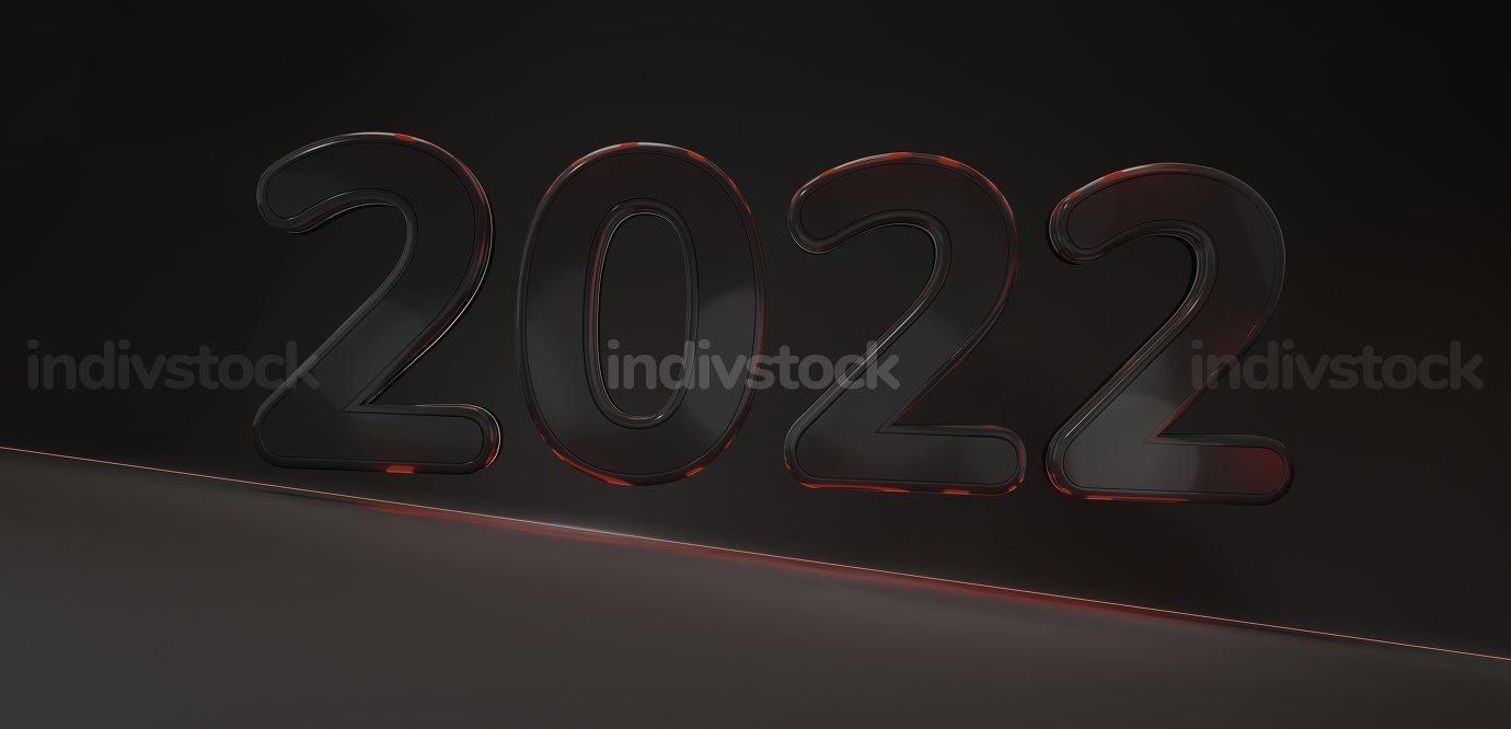 2022 bold dark red lights symbol background 3d-illustration