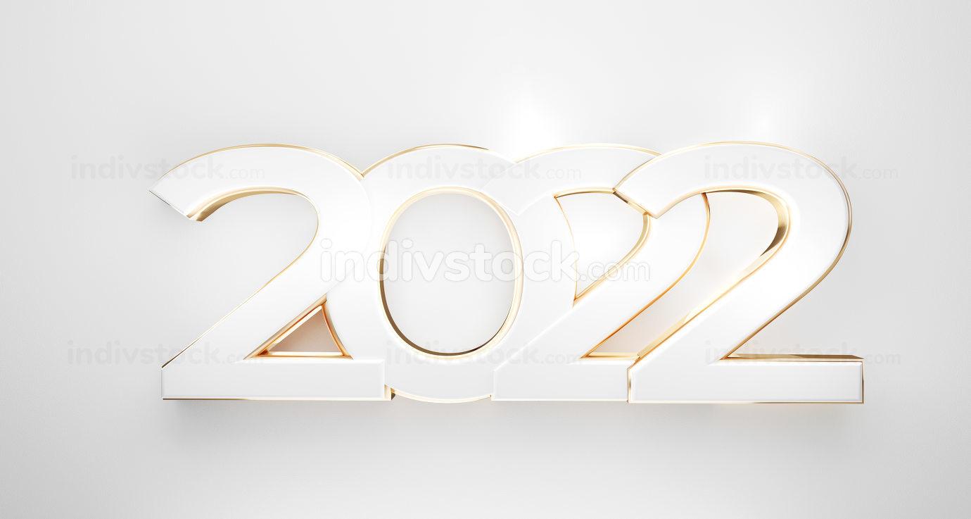 2022 bold golden white symbol 3d-illustration