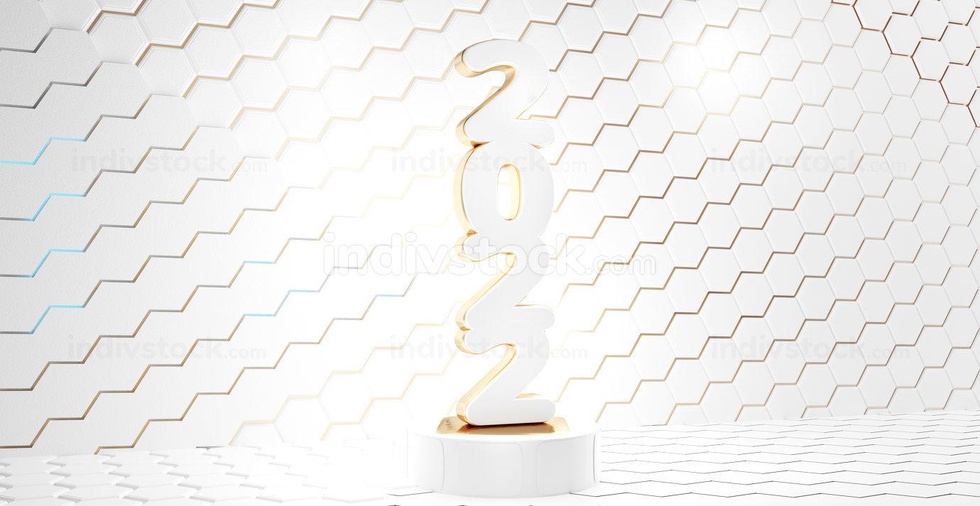 2022 bold symbol golden white 3d-illustration
