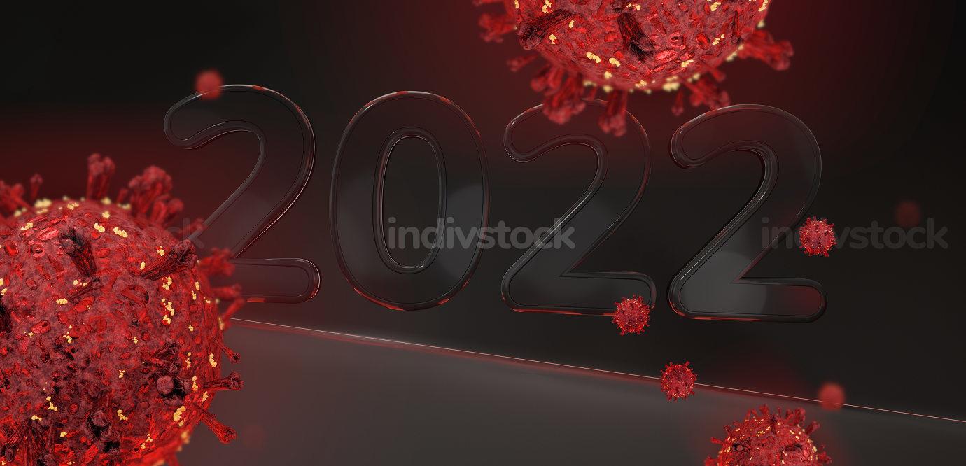 2022 coronavirus covid-19 3d-illustration dark red background