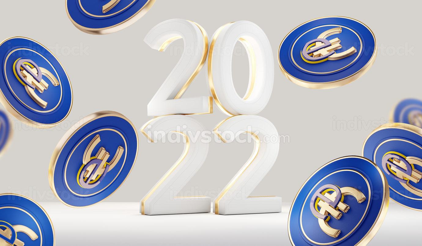 2022 European digital e-euro currency symbolic 3d-illustration