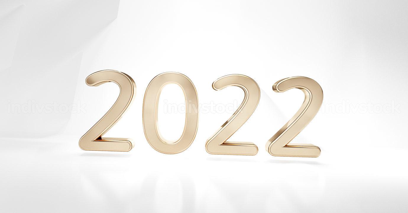 2022 golden symbol light gray white abstract background design 3d-illustration
