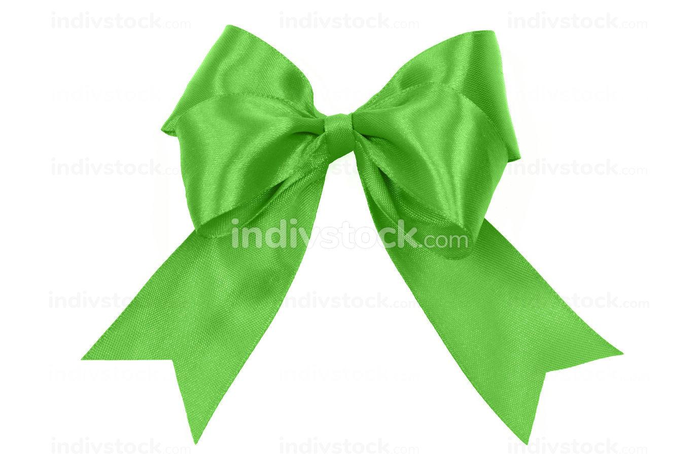 a shiny green satin bow