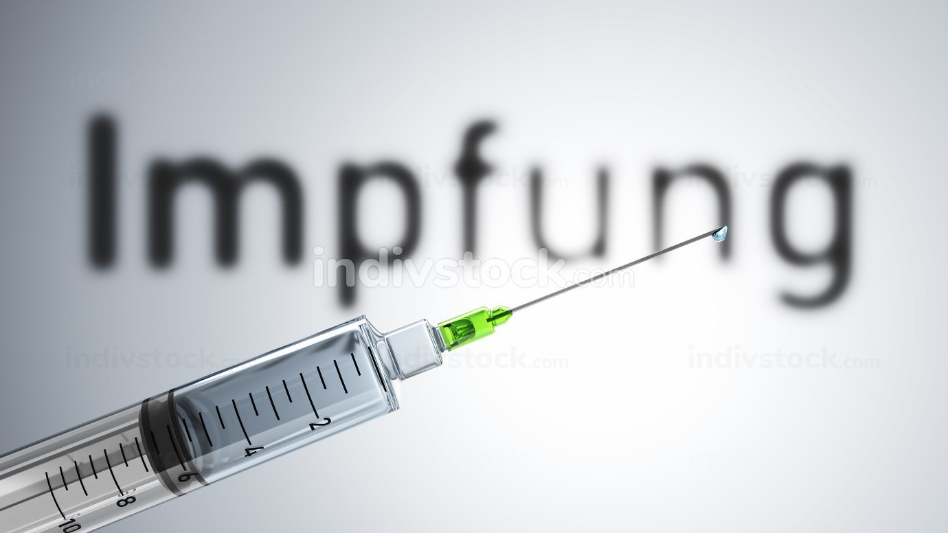 A syringe with the word vaccination in german language