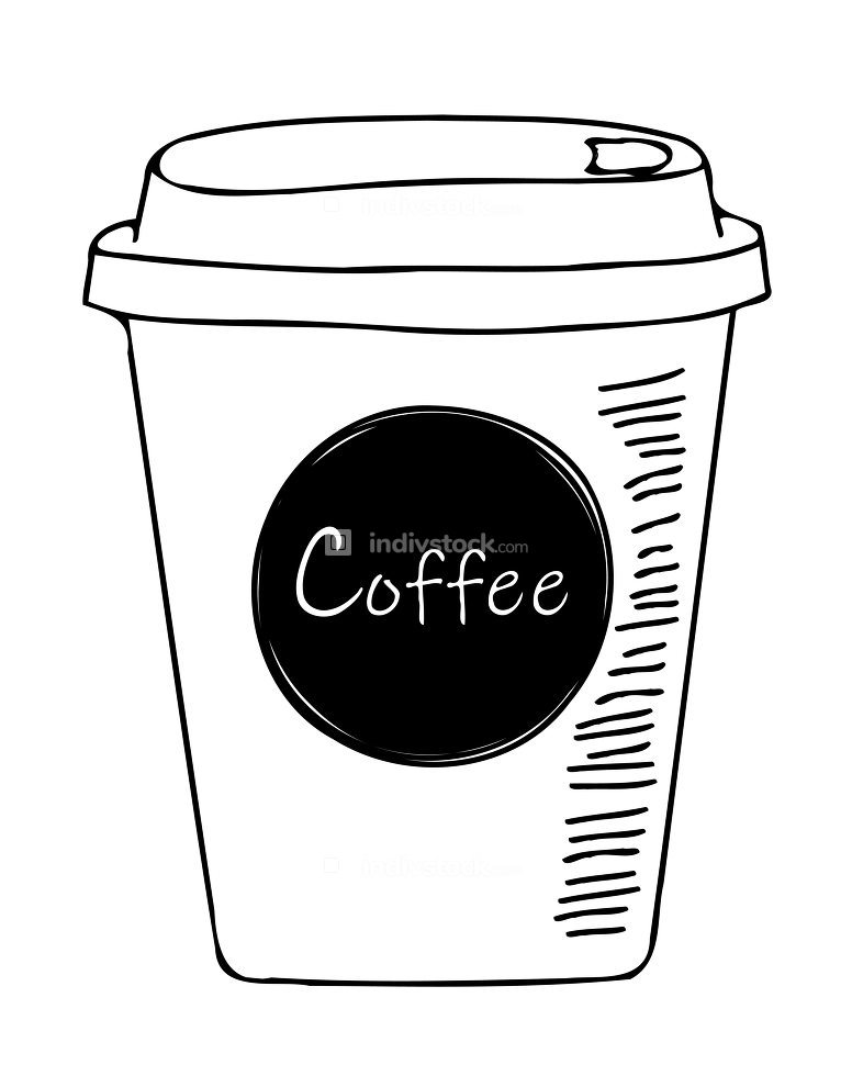 An illustration of a simple coffee to go sketch