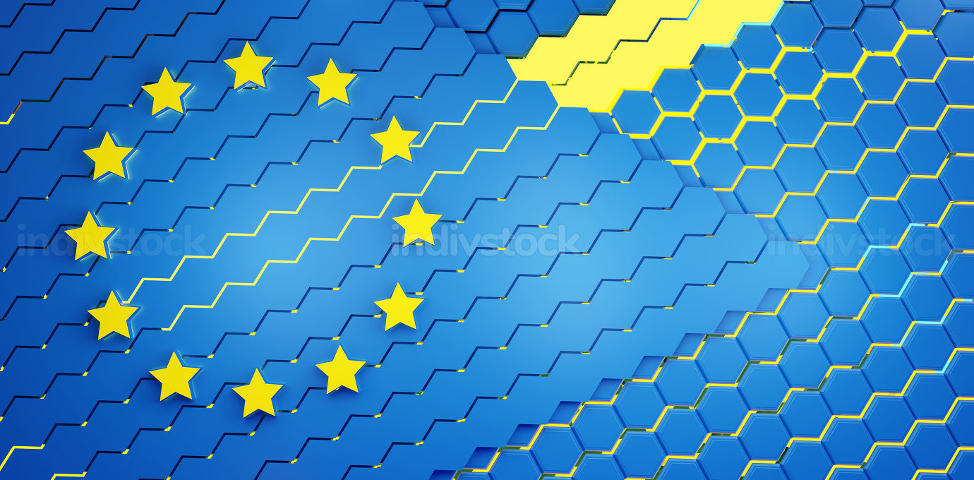 background design of Europe with hexagons design 3d-illustration