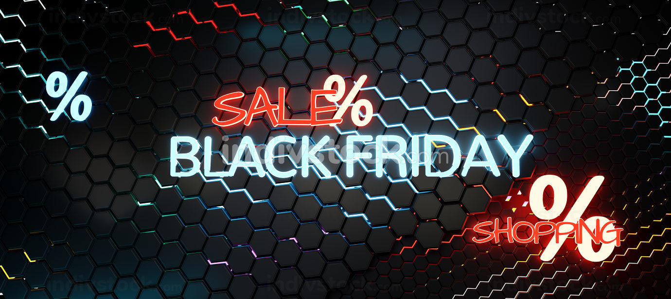 Black Friday sale neon hexagonal background 3d-illustration