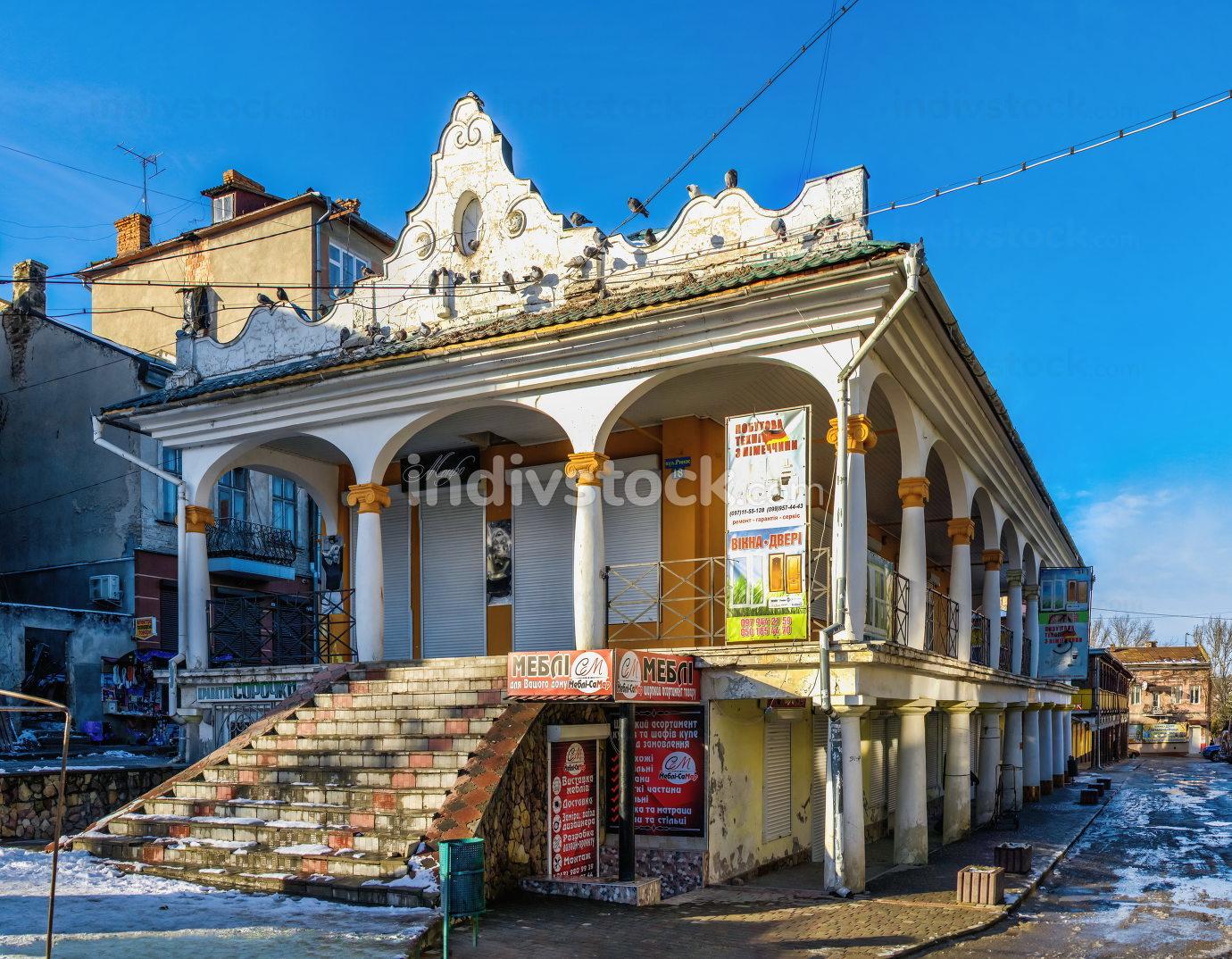 Chortkiv, Ukraine 01.06.2020. Old Town Hall in Chortkiv, Ukraine, on a sunny winter day