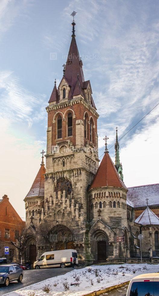 Chortkiv, Ukraine 01.06.2020. St Stanislaus Church in Chortkiv, Ukraine, on a sunny winter day