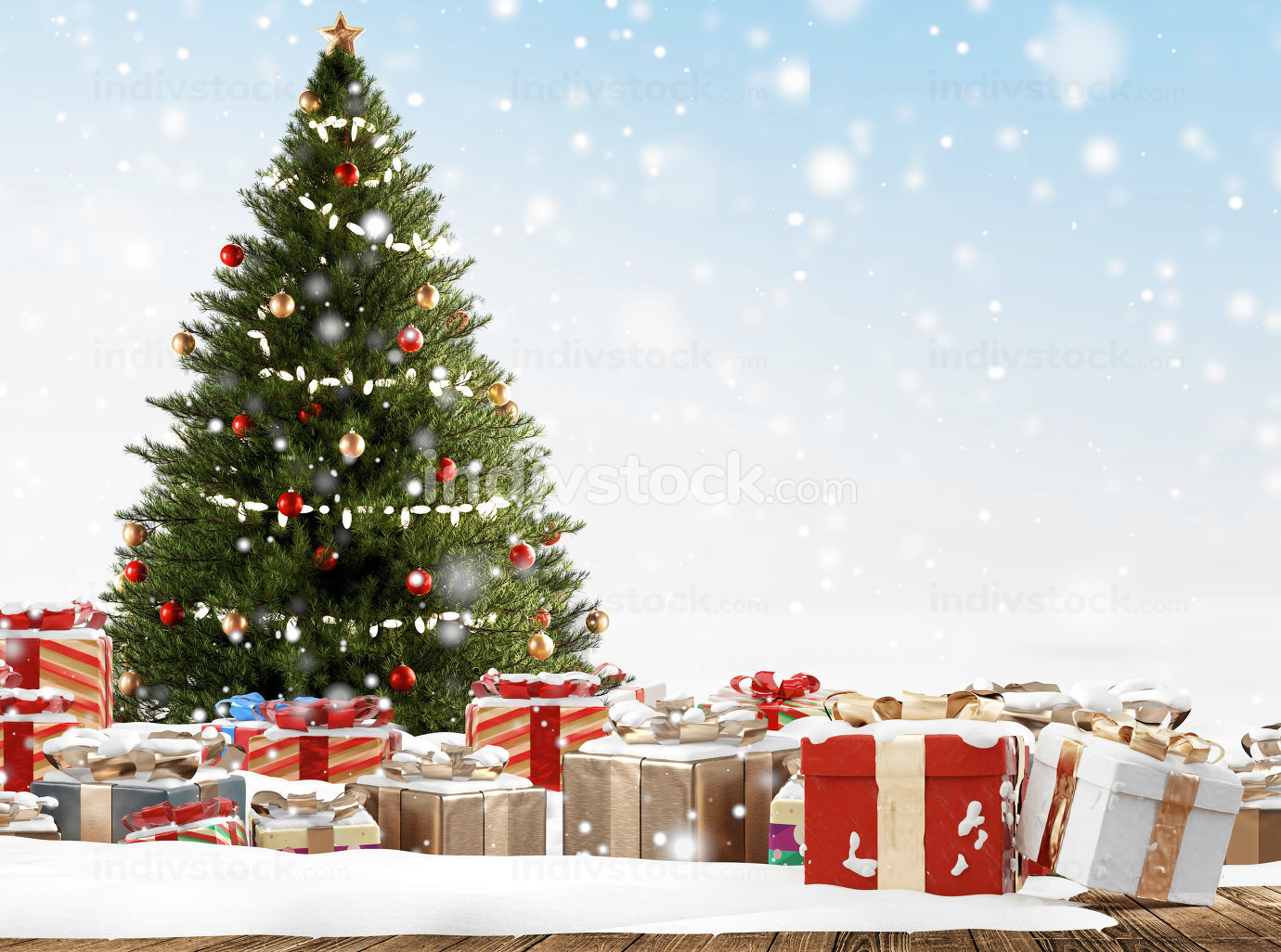 christmas gifts and tree background. white snow. christmas 3d-illustration