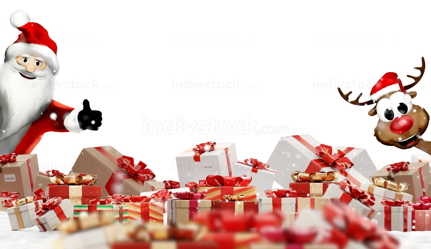 christmas gifts festive Santa Claus and deer design 3d-illustrat