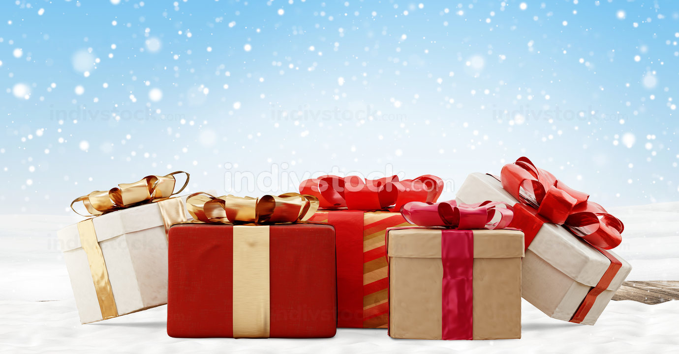 christmas gifts festive snow design 3d-illustration