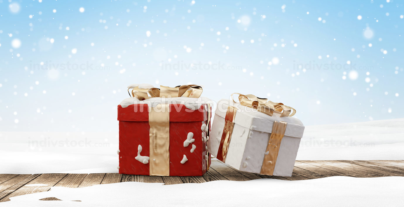 christmas gifts on wooden floor covered with snow 3d-illustratio