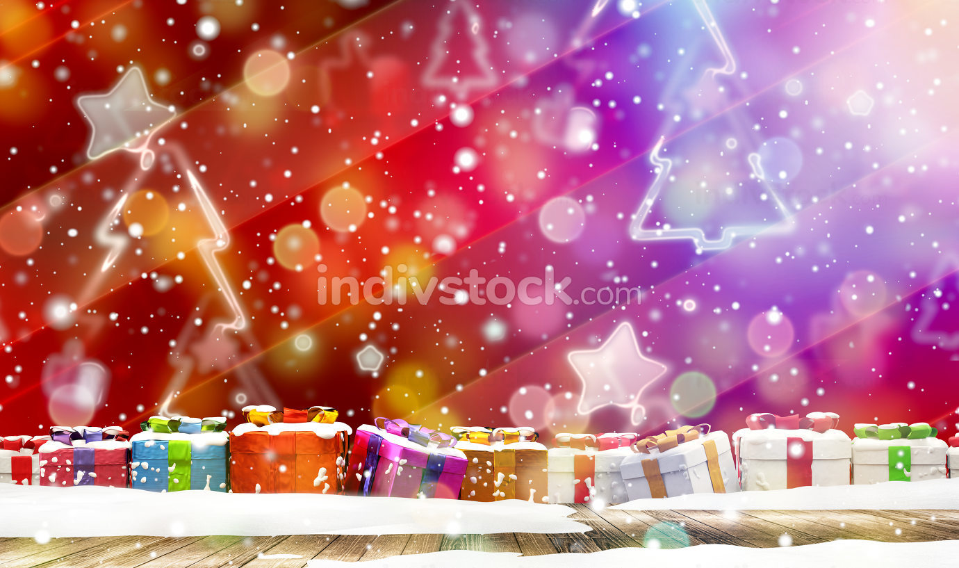 christmas presents and christmas fir tree in front of creative red background 3d-illustration