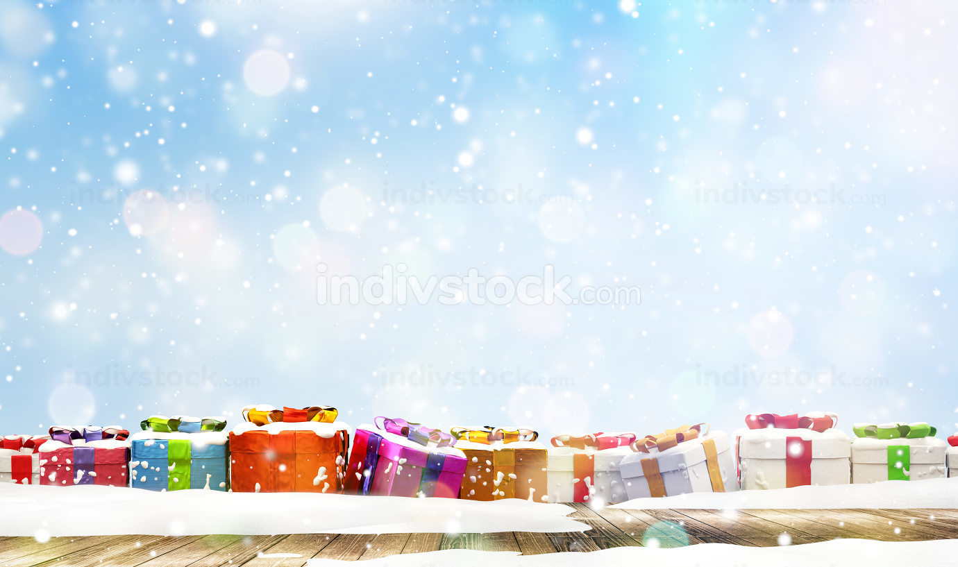 christmas presents and christmas fir tree in front of light blue snowflakes background 3d-illustration