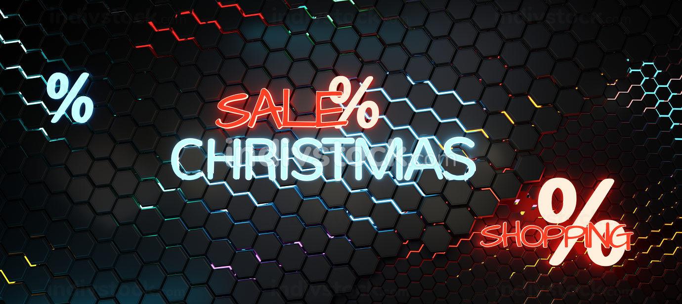 christmas sale neon hexagonal background 3d-illustration