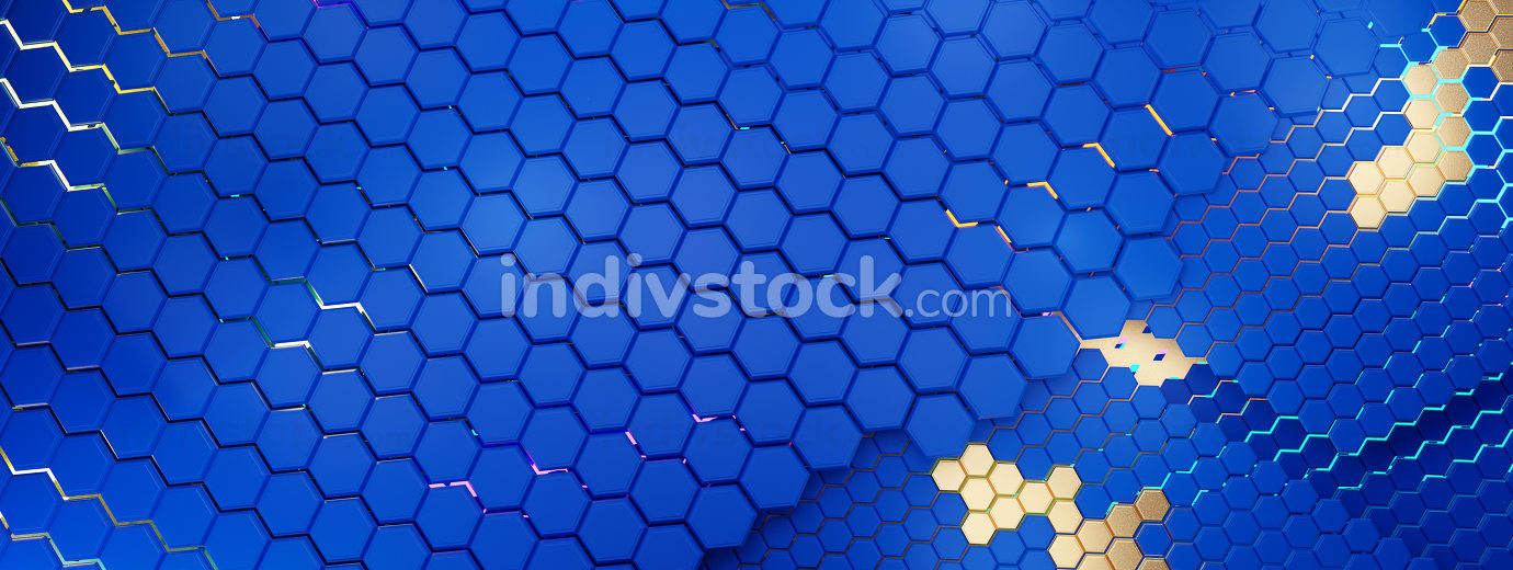 colors of the flag of Europe, hexagonal structure grid background with golden elements and vibrant lights 3d-illustration