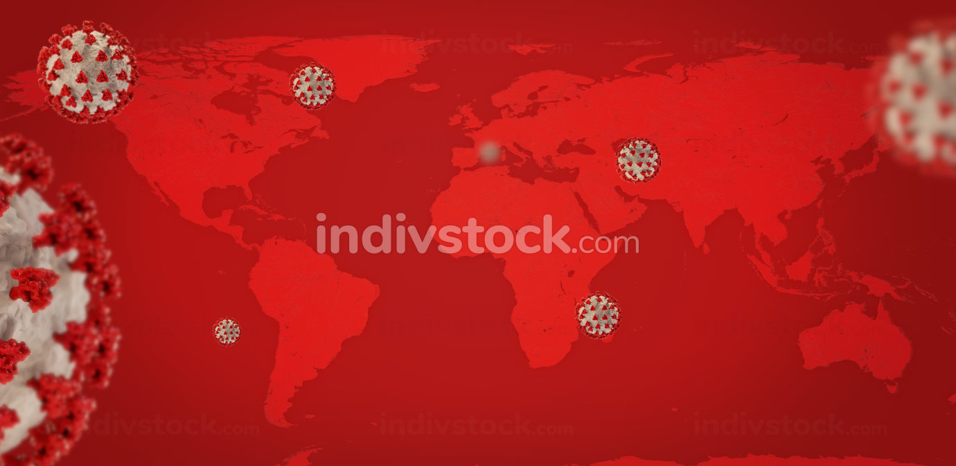 concept of Corona Virus Covid-19 world map. 3d-illustration elements of this image furnished by NASA