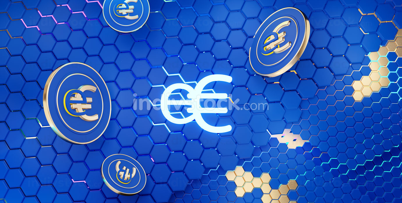 concept of E-Euro, Europe, e-Euro currency hexagonal grid background 3d-illustration