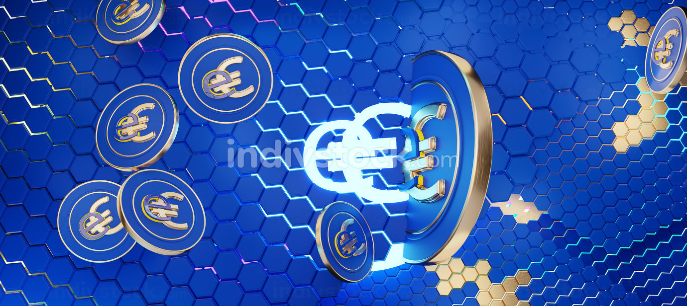 concept of E-Euro, Europe, eEuro currency hexagonal grid with golden elements and bright lights background 3d-illustration